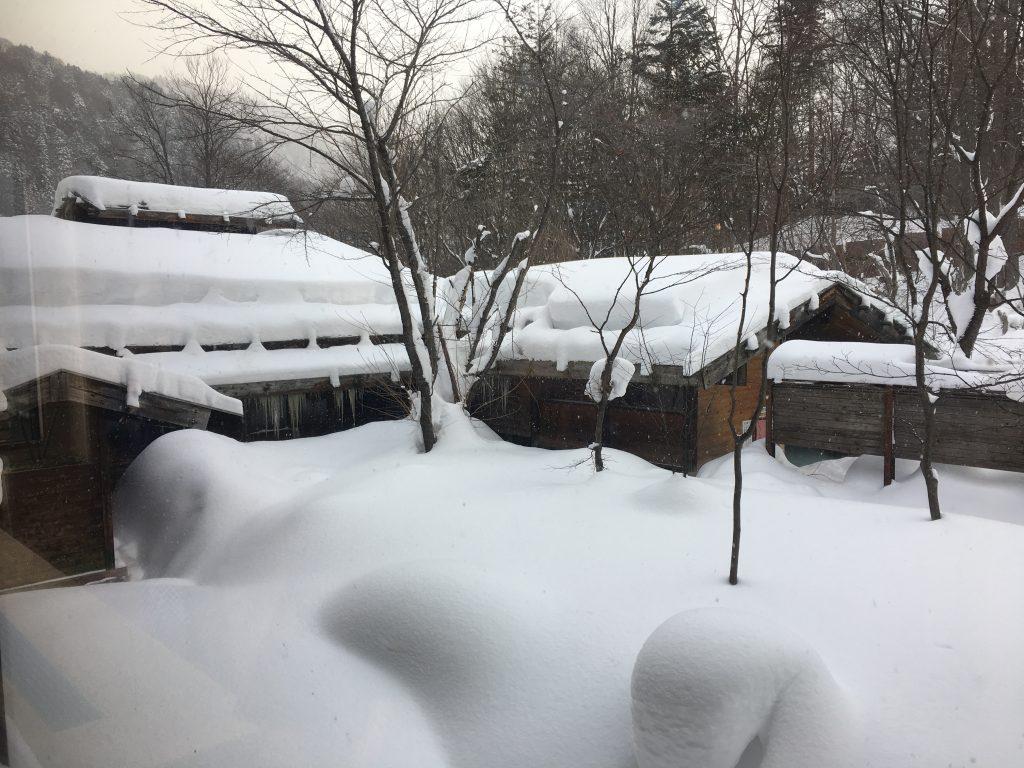 泡の湯旅館の外の雪景色